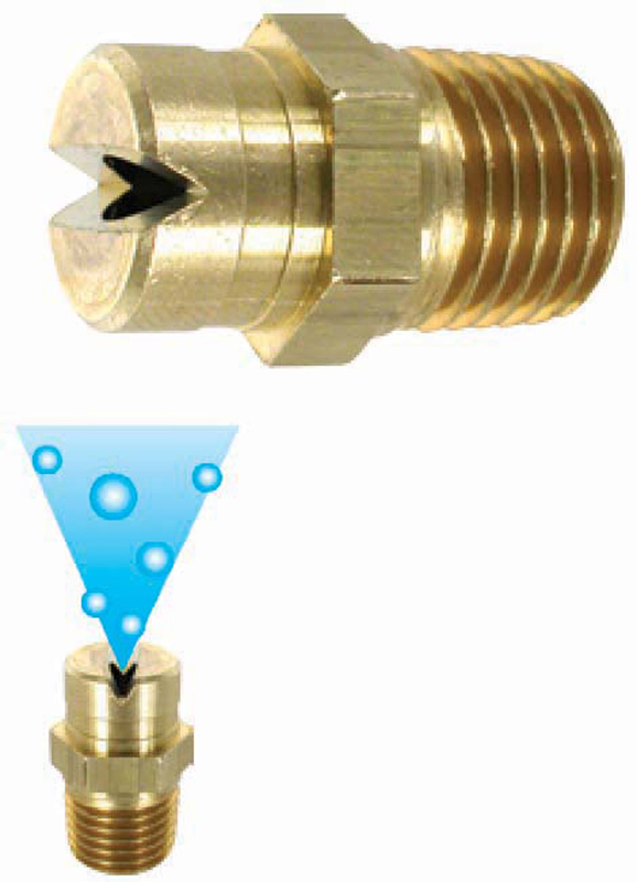 Soap nozzles for low pressure and long distance application
