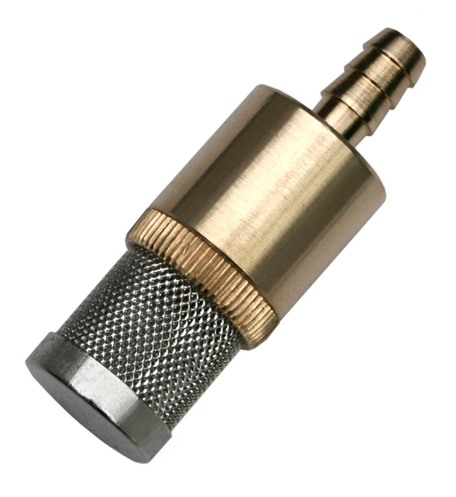 Stainless chemical filter with brass barb