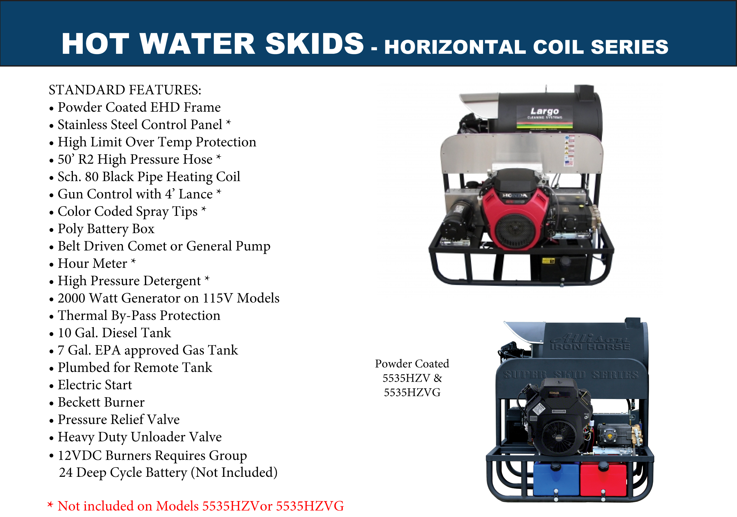 Horizontal Hot Water Pressure Washer Skids
